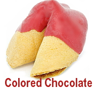 colored chocolate dipped fortune cookies
